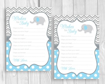 Wishes for Baby Printable 5x7 Blue and Gray Boy's Elephant Baby Shower Party Game - Baby Shower Keepsake - Instant Download
