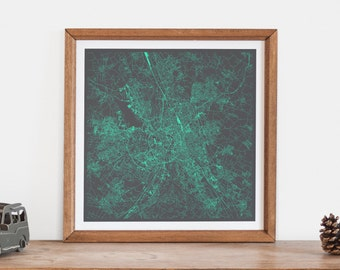 TOULOUSE MAP - Customizable Colors, Toulouse Walll Art, City Map Poster, Condo Home Decor