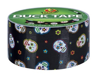"""Sugar Skull Printed Duct Washi Tape, 1.88"""" (48mm) x 10Y (9M) Decorations, Gift Wrapping, Planners, Scrapbooking, Card Making"""