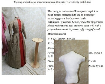 Downloadable Pattern for Display Mannequin for Antique Gowns