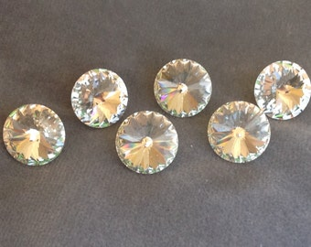 """Crystal button set. Swarovski clear crystal faceted buttons 5/8"""" (16mm). Set of 6"""
