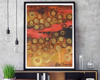 Red Gold modern abstract art print,circles gold black red wall art,xl giclee prints art print from original oil paper 10x14 small original