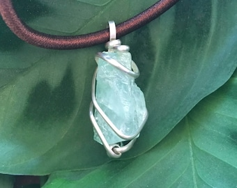 Green Calcite and Sterling Silver Necklace - Stone of happiness / wire wrapped jewelry / gift for man or woman / spiritual jewelry