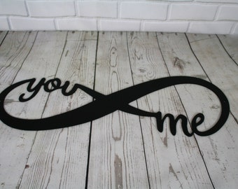 Infinity you and me bare metal ready to paint DIY project Valentine gift idea, forever and for always, wedding engagement proposal gift