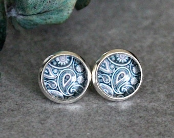 Blue Paisley Earrings, Navy Blue Earrings, Blue Stud Earrings, Paisley Stud Earrings, Navy Blue Post Earrings, Paisley Earring, Silver Studs