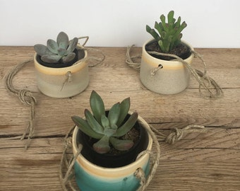 Handmade small ceramic hanging planters for succulent or cactus. Hanging planters. Plant pot. Indoor. Outdoor.