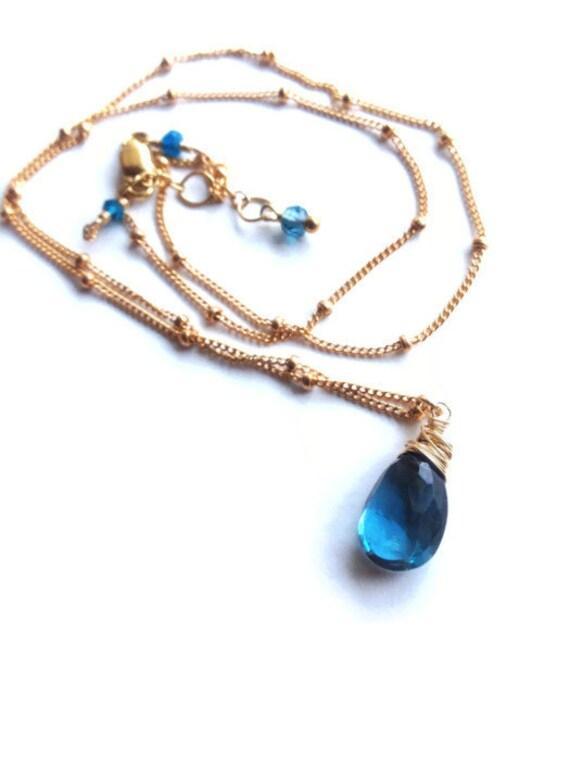 Genuine London Blue Topaz Necklace  Blue Topaz Briolette  Blue gemstone  Indigo December Birthstone Throat Chakra Necklace