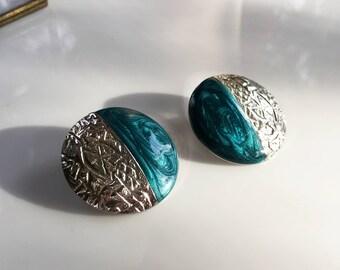 Teal Earrings Stud, Teal Enamel Earrings, Vintage Enamel Earrings, Teal and Silver Earrings, Silver and Teal Earrings, Enamel Post Earrings