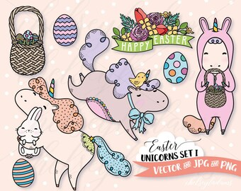 Easter Clipart Set, Unicorn Vector Clip Art, Kawaii Graphics Instant Download, Commercial Use, Cute Bunny, Easter Basket, Eggs, Baby Chick