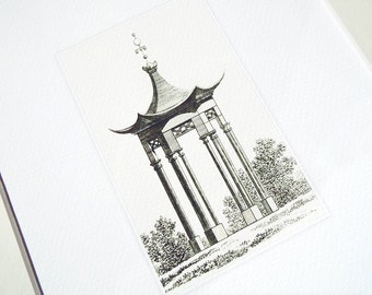 Sepia Pagoda Style Garden Pavillion Antique Illustration Archival Print