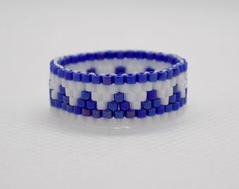 Dark Blue and White Peyote Geometrical Handmade Ring