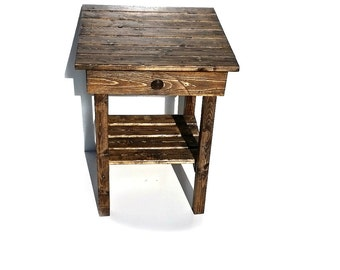 End Table With Drawer/Night Stand WIth Drawer/Rustic Table/Side Table/Bedside Table/Vintage/Stained/Painted/Custom/New Materials/Farmhouse