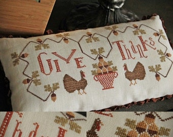 Give Thanks / Primitive cross stitch pattern / PDF