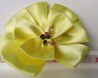 Hair Clip Large Yellow Primrose Satin Ribbon Fabric Flower with Beaded Center