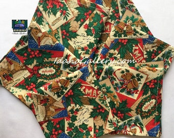 Christmas, Old Fashioned Christmas Motif Set 6 Napkins Fabric Napkins Homesteading Sustainable Reusable Go Green Recycle Help Save the Trees