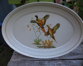 Vintage Large Plastic Oval Serving Tray Pheasants Male and Female Ferns 1950s to 1960s Decor Man Cave Wall Hanging Fowl Birds