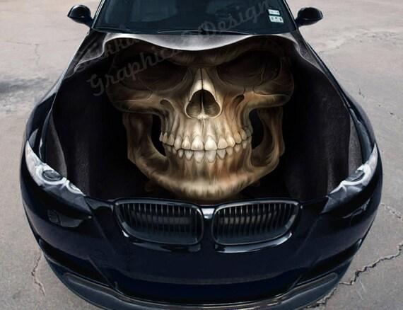 Vinyl Car Hood Full Color Wrap Graphics Decal Death Face Skull