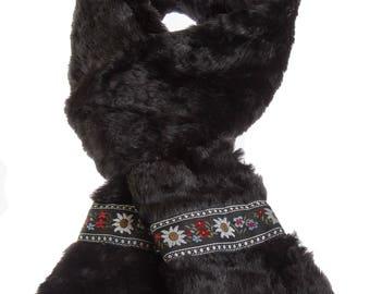 Black Faux Fur Scarf with Wildflower Trim