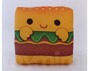 "Food Pillow, Hamburger Pillow, Birthday Party, Throw Pillow, Kawaii, Room Decor, Dorm Decor, Childrens Pillow, Toys, 7 x 7"""