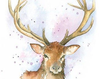 Stag - Deer Print from watercolour Painting
