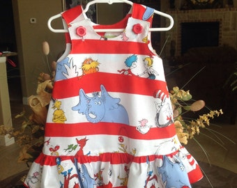 THE ANNA - Dr. Seuss Dress with Matching Ruffle, Red and White (baby, girls, toddler, infant, child) Jumper or Sundress