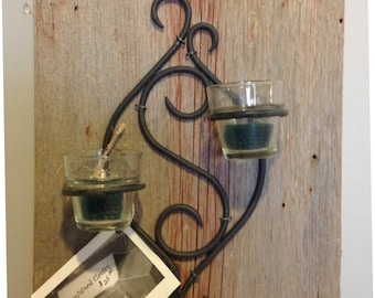 Reclaimed barn wood candle holder w/two votive holders.
