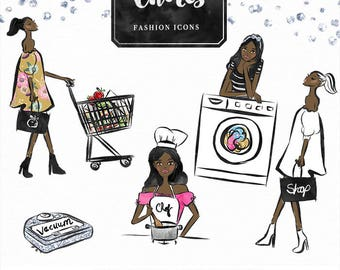 Chores Clip art   Hand drawn Girl Illustration, Cleaning, Groceries, Shopping, Washing planner stickers, graphics  resource, icon, emoticon