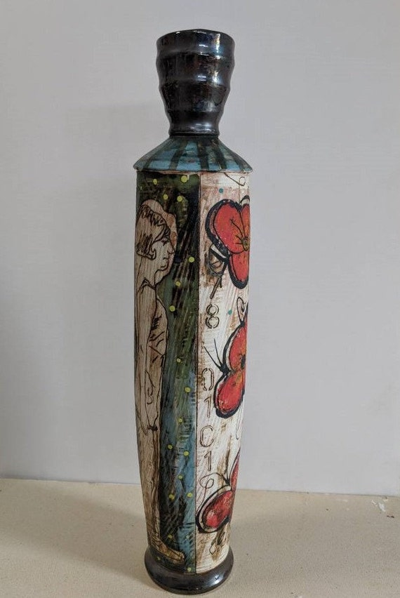 Handmade Ceramic Tall Vase with Athlete and Pansy's