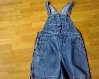 Denim Overalls , shorts, size 9/10 Womens    work cloths  farm cloths Route 66  100 percent cotton Blue