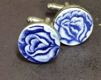 Mismatched blue floral cuff links/ Asymmetric blue amd white pottery cufflinks