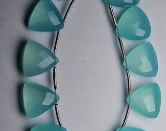 10 Matched Pair,Finest Quality,PERU AQUA BLUE Chalcedony Faceted Trillion Shape Briolettes 14mm