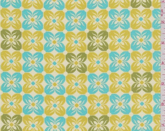 Ecru Floral Print Voile, Fabric By The Yard