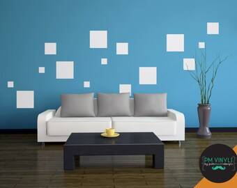 Square Vinyl Wall Decals, Set of 15 Squares - SHA002