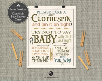 """Printable  """"Clothespin """" Baby Shower Game 