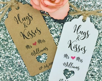 Hugs & Kisses Wedding Favour Gift Tag Label Kraft