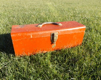 Vintage Metal Tool Box, Red Tool Box, Utility Box with Removable Tray, Gift for Him, Christmas Idea, Birthday Gift, Man Cave Decor (#507)