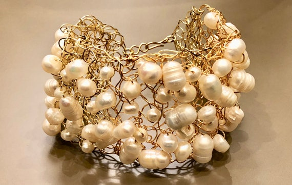 SJC10094 - Handmade gold plated wire crochet cuff bracelet with white fresh water pearls