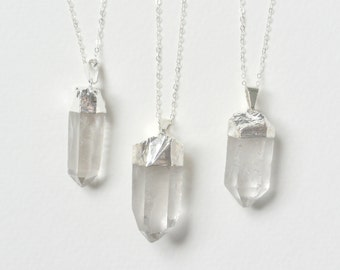 Silver Quartz Point Necklace, Raw Crystal Long Necklace, Quartz Crystal Point Necklace, Healing Crystal, Layered Necklace, Gemstone Necklace
