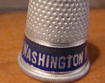 Vintage Advertising thimble Washington National Insurance Company - Aluminum with blue band - FREE shipping