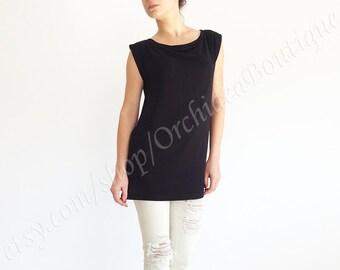 BASIC black sleeveless tank top loose plus size T-shirt women fashion boatneck blouse