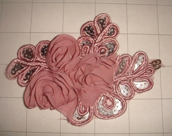 """Dusty Pink Flower and Sequins Braided Applique 4 1/2"""" by 3 1/4"""""""