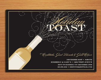 Champagne Bubbles /  New Years Eve DIY Customized Printable Party Invitations