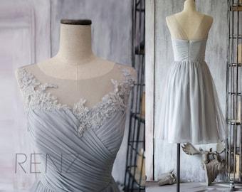 Medium Gray Bridesmaid Dress,Chiffon Cocktail Dress,A line Gray Prom Dress,Short Illusion Lace Wedding Dress,Formal Dress Tea Length(F149)