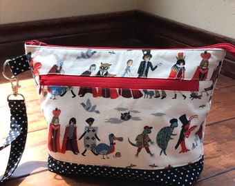 Medium Zippered Knitting/Crochet Project Bag with Detachable Wristlet - WONDERLAND PROCESSION