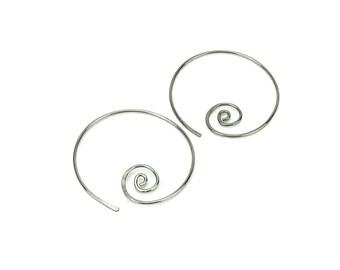 Niobium Earrings Spiral Hoops, Silver-color Niobium Spiraling Hoop Earrings for Sensitive Ears, Hypoallergenic Earrings Niobium Jewellery