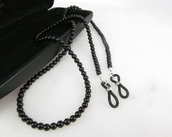 Genuine black onyx beaded eyeglass chain - reading glasses - glasses chain - glasses leash - glasses holder - black glasses chain - gemstone