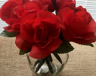 Red Rose Silk Flower Pen You Choose Quantity Blue Or Black Ink
