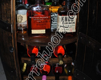 whiskey barrel Liquor cabinet w lazy susan & built in wine rack.