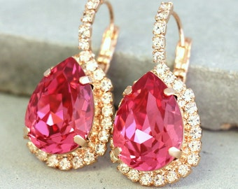 Pink Earrings, Pink Drop Earrings, Christmas Gift, Pink Swarovski Earrings, Teardrop Drop Earrings, Bridesmaids Pink Earrings,Bridal Jewelry