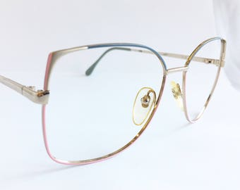 Vintage 1980's Oversized Grey and Pink Valdottica Metal Eyeglasses